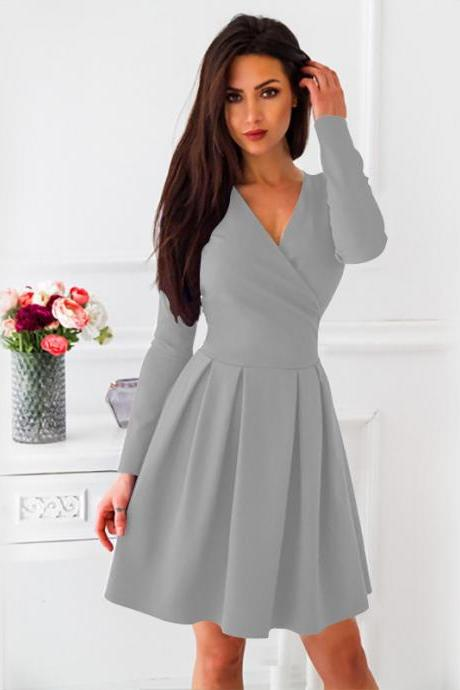 Women Casual Dress Spring Autumn V-Neck Long Sleeve Streetwear A Line Formal Party Dress gray
