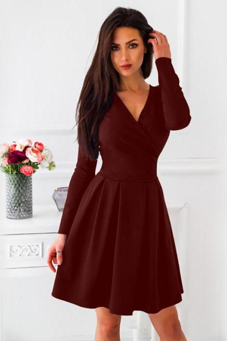 Women Casual Dress Spring Autumn V-Neck Long Sleeve Streetwear A Line Formal Party wine red