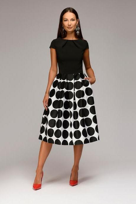 Women Casual Dress Short Sleeve Polka Dot Patchwork A Line Formal Party Dress black