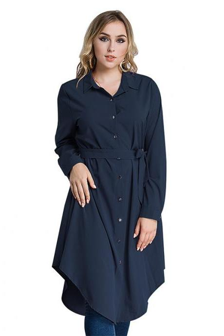 Plus Size Women Shirt Dress Long Sleeve Belted Work Office Midi Casual Asymmetrical Dress navy blue