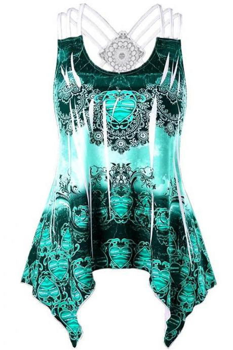Women Asymmetrical Tank Top Printed Lace Patchwork Casual Summer Sleeveless Vest Top green