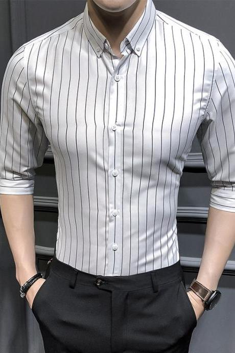 Men Striped Shirt Summer Turn-down Collar 3/4 Sleeve Casual Plus Size Slim Fit Shirt off white