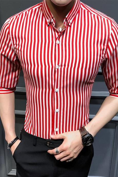 Men Striped Shirt Summer Turn-down Collar 3/4 Sleeve Casual Plus Size Slim Fit Shirt red