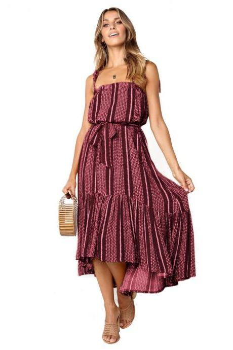 Women Asymmetrical Dress Spaghetti Strap Sleeveless Printed Belted Casual Summer Beach High Low Boho Dress red