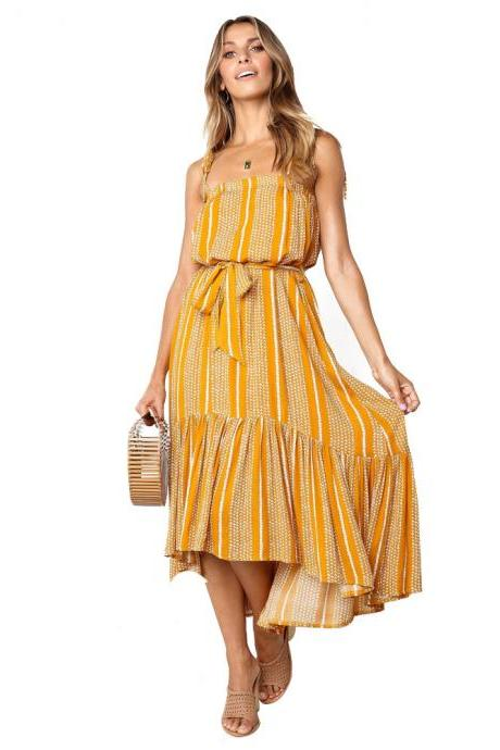 Women Asymmetrical Dress Spaghetti Strap Sleeveless Printed Belted Casual Summer Beach High Low Boho Dress yellow