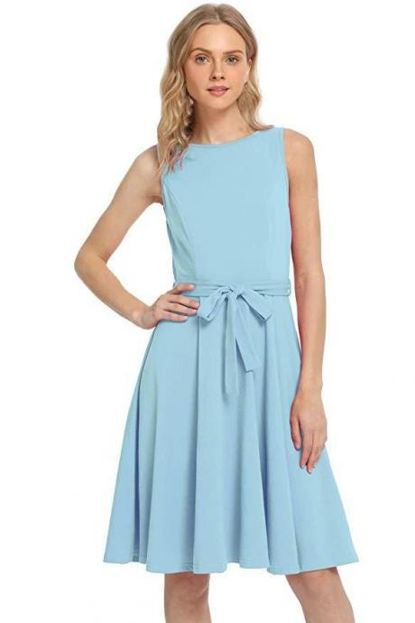 Women Casual Dress O Neck Sleeveless Belted Slim A Line Streetwear Formal Party Dress baby blue