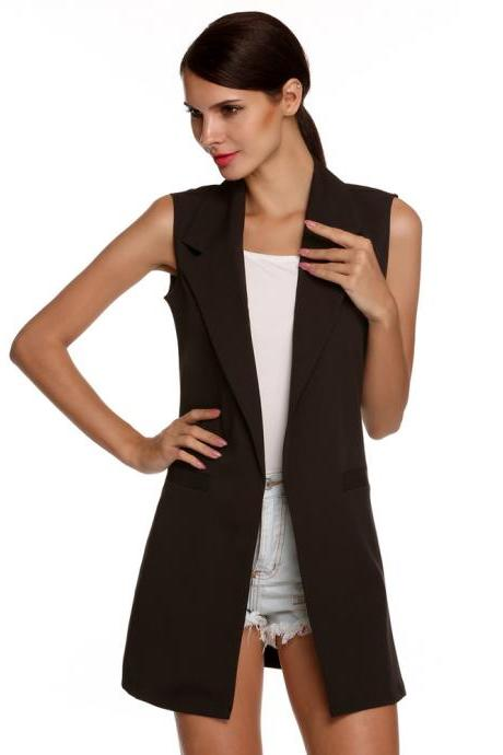 Women Waistcoat Spring Autumn Lapel Neck Work Office Casual Long Vest Slim Sleeveless Coat black