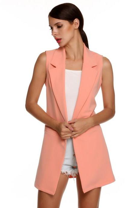 Women Waistcoat Spring Autumn Lapel Neck Work Office Casual Long Vest Slim Sleeveless Coat pink