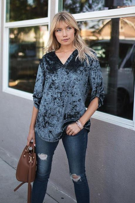 Women Velvet Blouse Spring Autumn V Neck Long Sleeve Casual OL Work Office Tops Shirt gray-blue