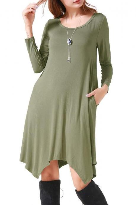 Women Asymmetrical Dress Spring Autumn Long Sleeve Pocket Casual Loose Midi Dress army green