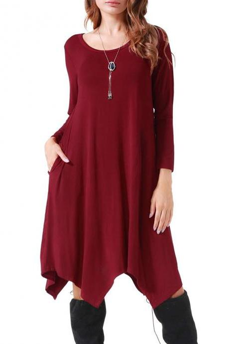 Women Asymmetrical Dress Spring Autumn Long Sleeve Pocket Casual Loose Midi Dress wine red