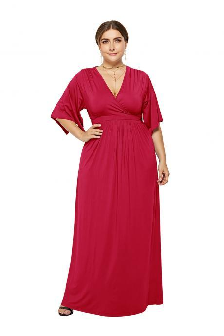 Plus Size Women Maxi Dress V Neck Half Sleeve Casual Long Formal Evening Gowns red