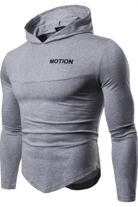 Men Long Sleeve T Shirt Spring Autumn Hooded Hip Hop Casual Streetwear Slim Fit Asymmetrical Tops gray