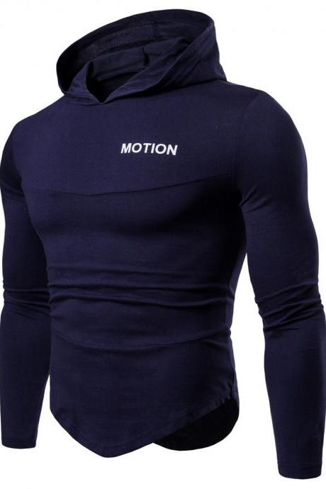Men Long Sleeve T Shirt Spring Autumn Hooded Hip Hop Casual Streetwear Slim Fit Asymmetrical Tops navy blue
