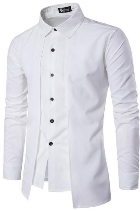 Men Shirt Fake Two Pieces Long Sleeve Single-Breasted Causal Business Slim Fit Male Shirt off white