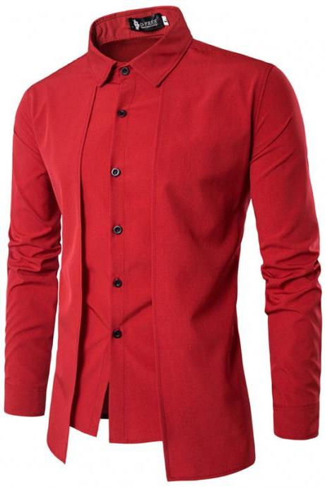 Men Shirt Fake Two Pieces Long Sleeve Single-Breasted Causal Business Slim Fit Male Shirt red
