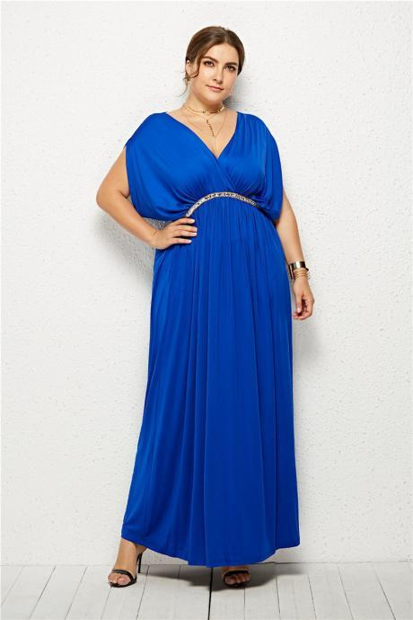 Plus Size Women Maxi Dress V Neck Summer Short Sleeve Long Formal Evening Party Dress royal blue