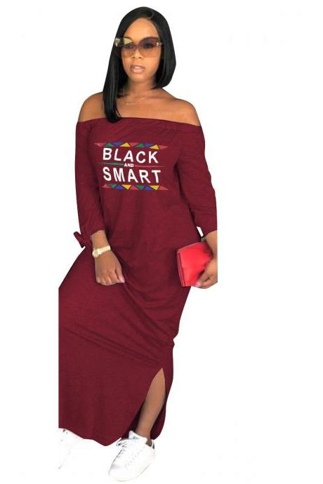 Women Maxi Dress Letter Printed Off Shoulder Long Sleeve Side Slit Casual Long Dress wine red