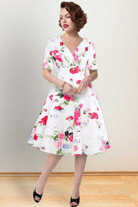 Women Floral Printed Dress V Neck Short Sleeve Vintage 50s 60s Casual A Line Formal Party Dress 1367-white