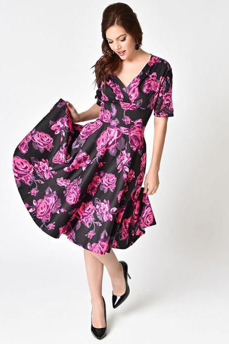 Women Floral Printed Dress V Neck Short Sleeve Vintage 50s 60s Casual A Line Formal Party Dress 1370-black