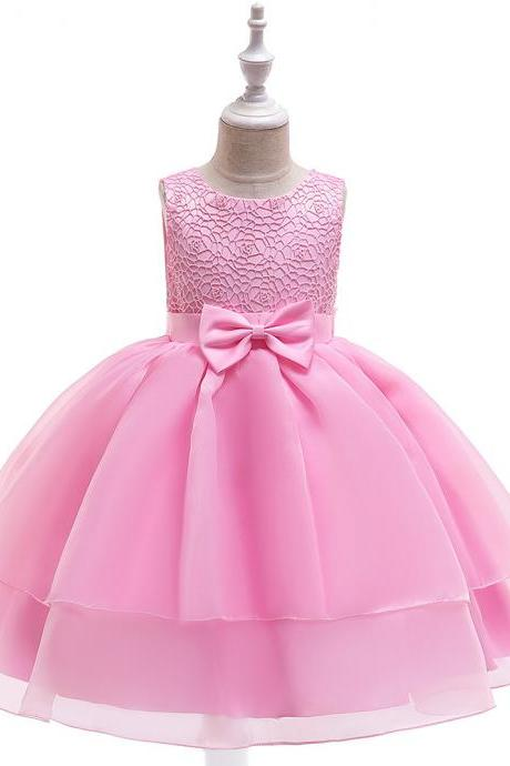 Lace Flower Girl Dress Sleeveless Layered Wedding Formal Birthday Cumunion Party Gown Children Clothes pink
