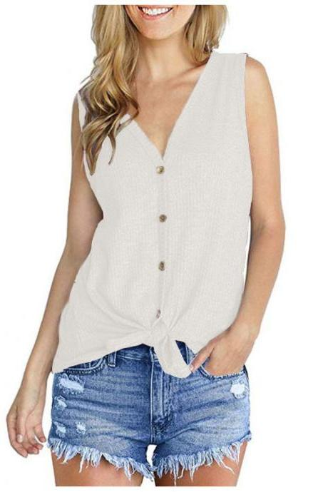 Women Knitted Vest V Neck Buttons Sleeveless Casual Loose Pullovers Cardigan Tops off white