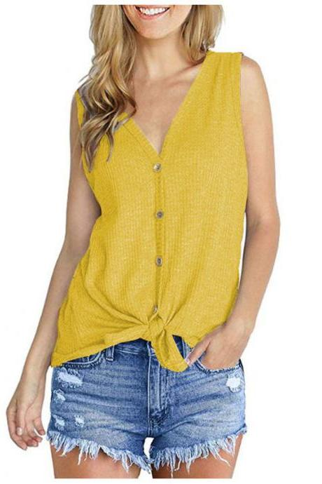 Women Knitted Vest V Neck Buttons Sleeveless Casual Loose Pullovers Cardigan Tops yellow