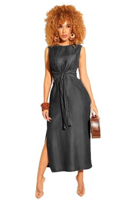 17435ea3ff Women Denim Dress Summer Beach Sleeveless Split Casual Belted Slim Midi  Dress black