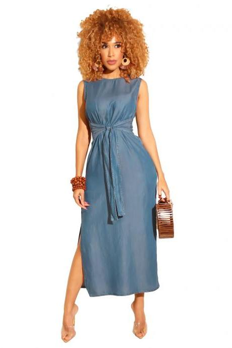 Women Denim Dress Summer Beach Sleeveless Split Casual Belted Slim Midi Dress light blue