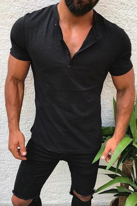Men T-Shirt Button V Neck Summer Short Sleeve Streetwear Casual Hip Hop Slim Fit Male Tops black