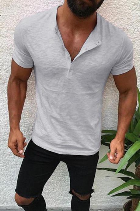 Men T-Shirt Button V Neck Summer Short Sleeve Streetwear Casual Hip Hop Slim Fit Male Tops gray
