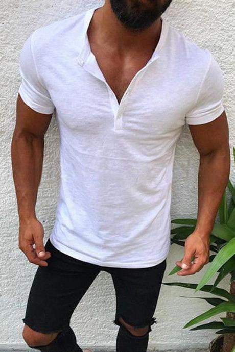 Men T-Shirt Button V Neck Summer Short Sleeve Streetwear Casual Hip Hop Slim Fit Male Tops off white