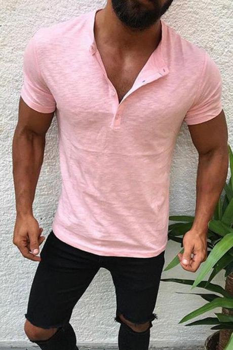 Men T-Shirt Button V Neck Summer Short Sleeve Streetwear Casual Hip Hop Slim Fit Male Tops pink