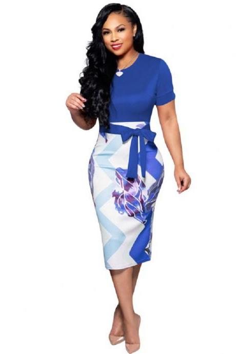 Women Pencil Dress Short Sleeve Printed Patchwork Belted Slim Bodycon Midi Work Office Party Dress blue