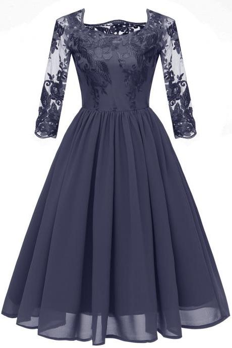 Women Embroidery Chiffon Dress Vintage 3/4 Sleeve A Line Formal Bridesmaid Party Dress navy blue