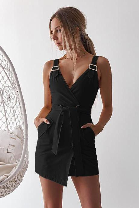 Women Sleeveless Blazer Suit Dress Summer Buttons V Neck Casual Slim Mini Club Party Sundress black