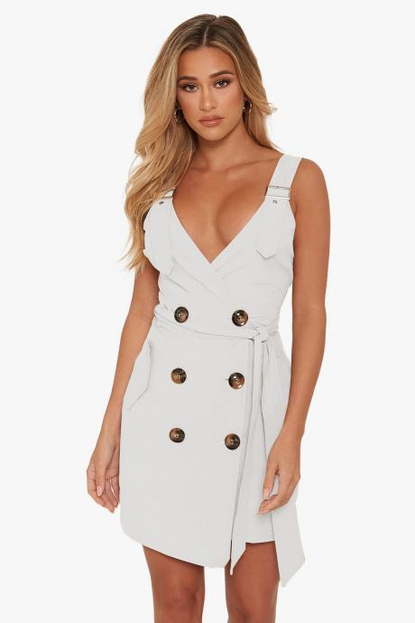 Women Sleeveless Blazer Suit Dress Summer Buttons V Neck Casual Slim Mini Club Party Sundress off white