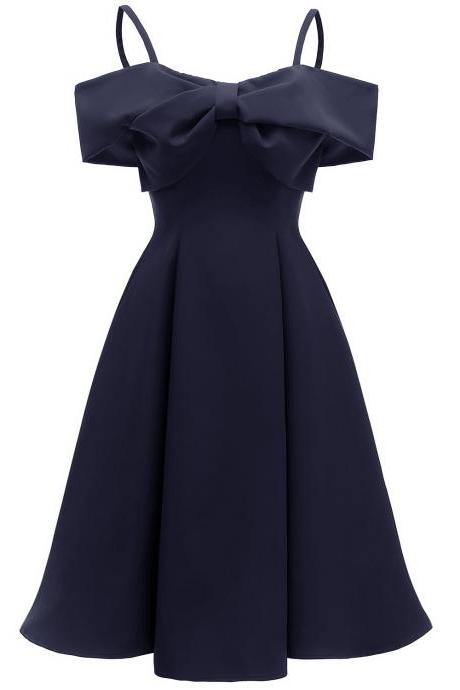 Women Casual Dress Summer Spaghetti Strap Sleeveless Bow Vintage Satin A Line Formal Party Dress navy blue