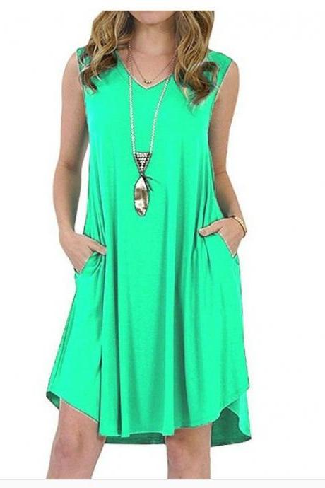 Women Casual Dress V-Neck Sleeveless Pocket Streetwear Summer Plus Size Beach Mini Sundress green