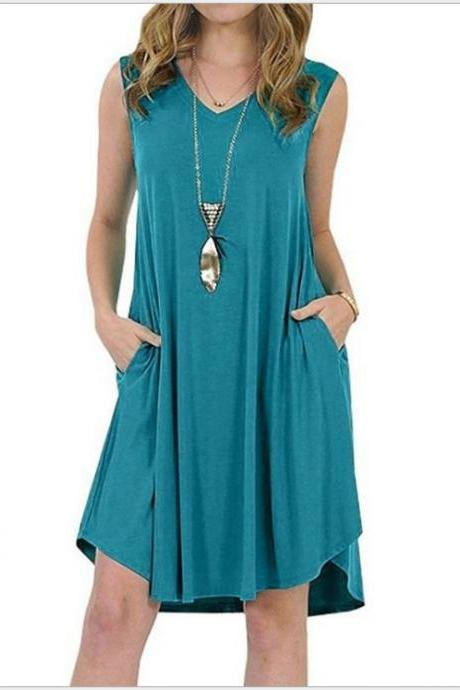 Women Casual Dress V-Neck Sleeveless Pocket Streetwear Summer Plus Size Beach Mini Sundress turquoise