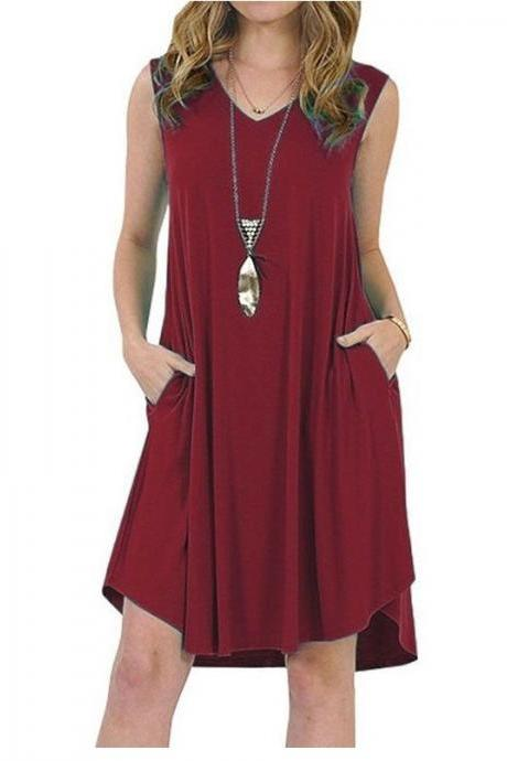 Women Casual Dress V-Neck Sleeveless Pocket Streetwear Summer Plus Size Beach Mini Sundress wine red