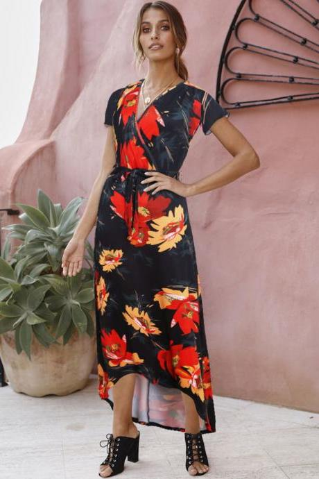 Women Floral Printed Maxi Dress V Neck Short Sleeve Summer Beach Casual Long Asymmetrical Dress 5#