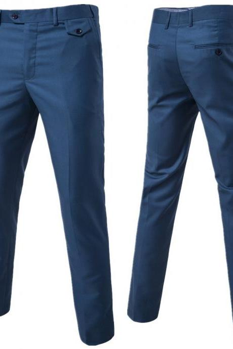 Men Suit Pants Cotton Solid Casual Business Formal Bridegroom Plus Size Wedding Trousers lt navy