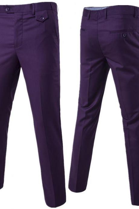 Men Suit Pants Cotton Solid Casual Business Formal Bridegroom Plus Size Wedding Trousers purple
