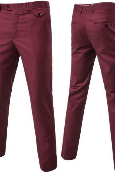 Men Suit Pants Cotton Solid Casual Business Formal Bridegroom Plus Size Wedding Trousers wine red
