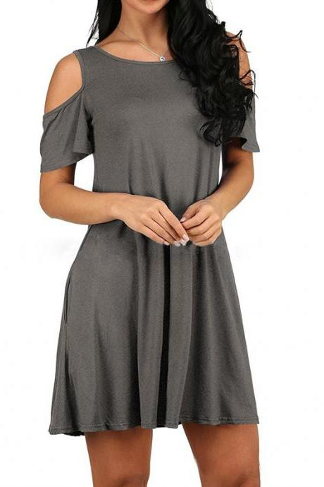 Women Casual Dress Off Shoulder Short Sleeve Summer Beach Pocket Loose Mini Club Party Dress gray