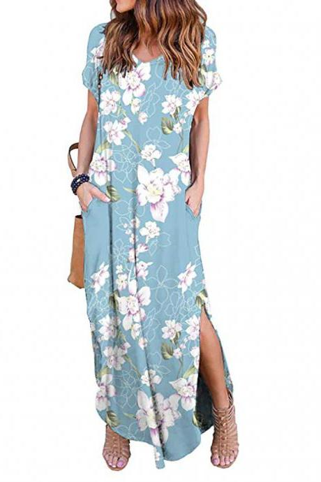 Women Maxi Dress Floral Printed Short Sleeve Casual Asymmetrical Boho Summer Beach Split Long Dress 4#