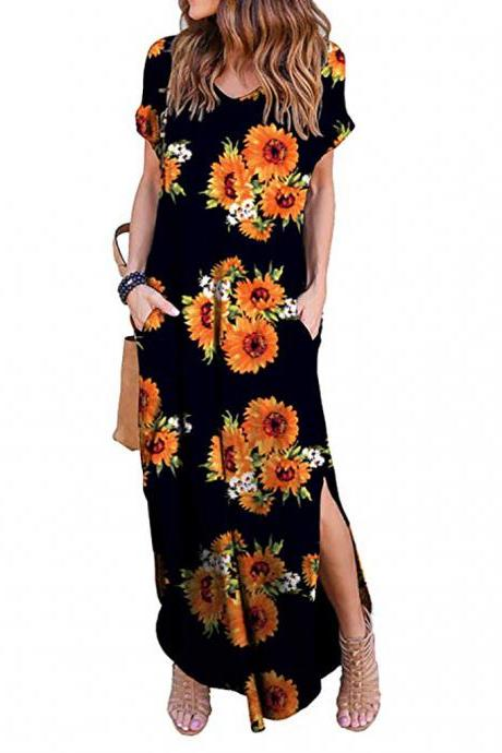 Women Maxi Dress Floral Printed Short Sleeve Casual Asymmetrical Boho Summer Beach Split Long Dress 5#