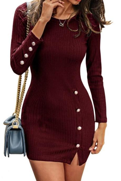 Women Sweater Dress Autumn Buttons Long Sleeve Bodycon Mini Pencil Club Party Dress wine red