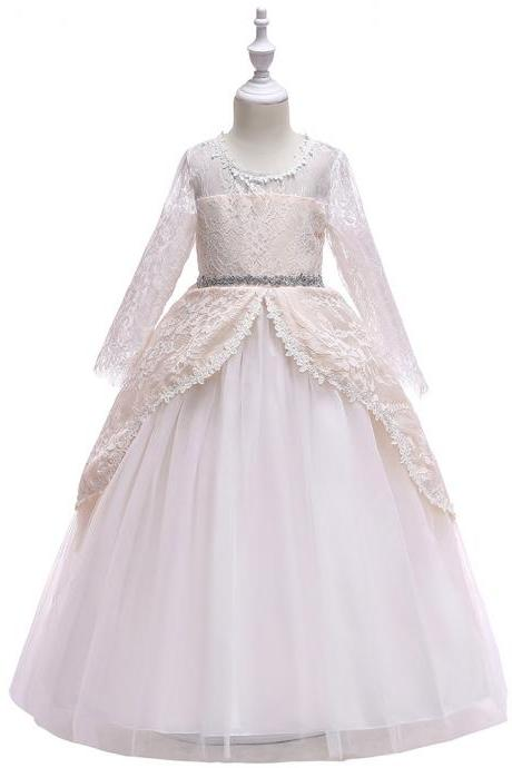 Long Sleeve Flower Girl Dress Lace Wedding Formal Birthday Party Princess Gown Kids Children Clothes champagne